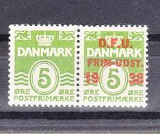 Denmark 1938 Mi#243 Mint Hinged Pair With And Without Overprint - Gebraucht
