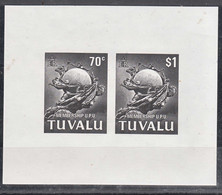 Tuvalu 1981 UPU, Mint Never Hinged Black Proof Block - Tuvalu