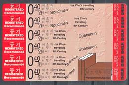 North Korea 1994 Hue Cho's Travel Explorer 6x0.40w SPECIMEN Stampcard Mi#3571-3576 - Korea (Noord)