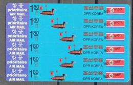 North Korea 1994 Naval Boat 6x1.80w SPECIMEN Stampcard Mi#3590-3595 - Korea (Noord)
