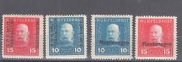 Austria Occupation Of Montenegro WWI 1917 Mi#1,2,I And II, Mint Hinged - Unused Stamps