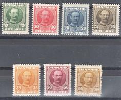 Denmark 1907 King Frederik Mi#53-59 Mint Hinged - Unused Stamps