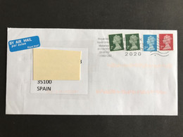 ◆◆◆  Gran Bretaña  2020    - Postal History -     To The SPAIN  2020 's , - Storia Postale