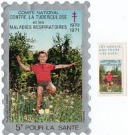 COMITE NATIONAL CONTRE La TUBERCULOSE.1970-1971. GRANDE VIGNETTE 5 F + TIMBRE 0,50 Cts - Antitubercolosi