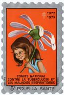 COMITE NATIONAL CONTRE La TUBERCULOSE.1972-1973. GRANDE VIGNETTE 5 F. - Antitubercolosi
