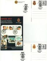 TEMA POLICIAL. 2 Tarjetas Prefranqueadas DISTINTAS (VER IMAGEN) Matasellos Exposición Filatélica Policial EXFIVAL 2017 - 1931-....