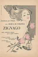 # ACQUA DI COLONIA ZIGNAGO 1950s Advert Pubblicità Publicitè Reklame Perfume Parfum Profumo Cologne Stork - Non Classificati