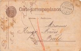 Entier Postal - Ambulant Pour Basel 27.III. 1879 - Sceau Chapellerie Meyer Delémont - Postwaardestukken