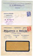 CINQ ENVELOPPES COMMERCIALES DE LIMOGES - 1921-1960: Periodo Moderno