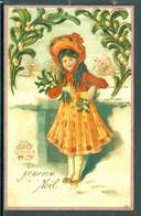 20241 Noël - Joyeux Noël - Jeune Fille Avec Branche De Gui - Carte Gaufrée - Ohne Zuordnung