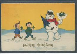 20474 Prosit Neujahr - Max & Moritz Suivant Un Père Noël Humanisé Avec Chapeau, Parapluie Et Un Bouque De Gui - Neujahr