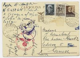 ITALIA ENTIER 30C CARTOLINA +30C+15C VOGOGNA 22.12.1944 TO SUISSE CENSURA + NAZI - Marcofilie