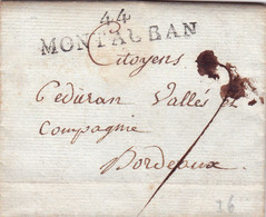 Lot 1797 Messidor An 6 Marque Postale Linéaire Montauban - 1801-1848: Vorläufer XIX