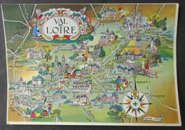 CPM 45 CARTE GEOGRAPHIQUE DU VAL DE LOIRE (par Liozu) - Réf. Z 169 - Zonder Classificatie