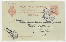 ESPANA ENTIER TARJETA POSTAL CACHET BLEU LA OROTAYA 1907 + SANATA CRUZ TENERIFE AU DOS TO BERLIN - Sin Clasificación