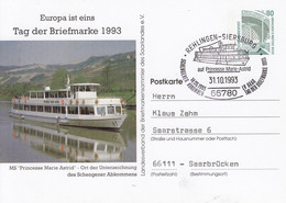 "PP 153/21a  Europa Ist Eins - Tag Der Briefmarke 1993 - MS""princesse Marie Astrid""  Rehlingen-Siersburg - Private Postcards - Used"