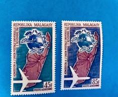 MADAGASCAR 1963 - 2 V Neuf ** MNH Aérien PA 93 94 UPU Malagasy Madagaskar - Madagascar (1960-...)