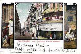 Thematiques Egypte Alexandrie Rue Cherif Pacha Et Hôtel Khedivial Timbre Cachet 1907Timbre - Alexandria