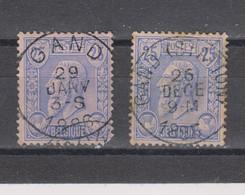 COB 48 Centraal Gestempeld Oblitération Centrale GAND + Station - 1884-1891 Leopold II