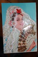 TI - Carte Brodée -Tissus - Costume Traditionnel Espagne - - Bordados