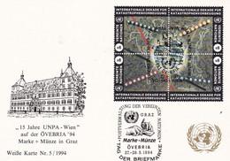 UNO WIEN 1994 Mi-Nr. 170/73 FDC 15 Jahre UNPA -Wien Overbria '94 In Graz - FDC