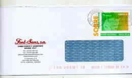 Lettre  Entiere Tarif A Arbre Flamme Barcelone Entete Font Sans Numero Rouge Au Dos - 1931-....