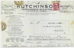 GANDON 5FR ROSE PERFORE EH ETABLISSEMENTS HUTCHINSON FACTURE OUVERTE PUTEAUX 13.2.1947 SEINE - 1945-54 Marianne De Gandon