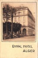 Thematiques Algerie Alger Carte Publicitaire 2 Volets Format CP Royal Hôtel Illustrateur Au Dos Drack Oub - Algerien
