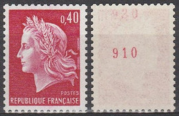 1536Bc** 40c ROUGE MARIANNE CHEFFER - N° ROUGE Au Verso + 2ème N° - Francobolli In Bobina