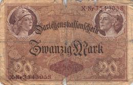 20 Mark Reichsbanknote VG/G (IV) Darlehenskassenschein - 20 Mark
