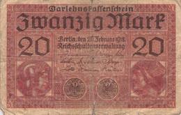20 Mark 1918 Reichsbanknote IV/G (IV) Darlehenskassenschein - 20 Mark