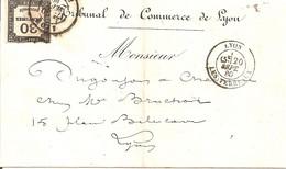 Lyon Les Terreaux. Cachet à Date Type 17 Sur Taxe Yvert N° 6. Cote 300€ Sur Lettre - 1859-1955 Covers & Documents