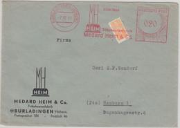 """FZ/Württ. - Burladingen 1949 20 Pfg. AFS """"Heim Trikotwaren"""" + Wohnungsbau Brief - Zone Française"""