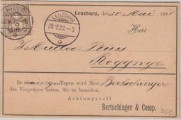 Schweiz - 2 C. Kreuz/Wertschild Drucksache Reiseavis Lenzburg - Roggwyl 1888 - Sin Clasificación