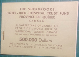 Canada-Australie - SHERBROOKE Hôtel-Dieu 1835 Québec Canada - Carnet Complet De 10 Billets - Loterijbiljetten