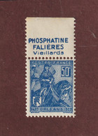 257 De 1929 - Neuf ** Avec PUB : PHOPHATINE FALIÈRES Vieillards  - Issu D'un Carnet Jeanne D'ARC - 2 Scannes - Ongebruikt