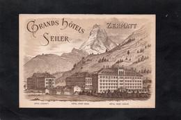 ZERMATT - Grands Hotels SEILER - Zermatt , Mont Rose, Mont Cervin / Au Dos Hotel RYFFELALP / Carte Publicitaire - VS Valais