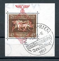Deutsches Reich, German Reich, Third Reich, 1937, Horse Racing, Braune Band, Red Overprint, FD Cancelled, Michel 649 - Unclassified