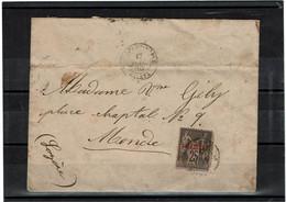 CTN64 LEFR -  LEVANT SAGE 1p/25c (PETITE DECHIRURE) SUR LETTRE CONSTANTINOPLE 17/7/1888 - Brieven En Documenten