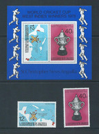 St Christopher Nevis Anguilla 1976 Cricket World Cup Set Of 2 & Miniature Sheet MNH - St.Christopher-Nevis-Anguilla (...-1980)