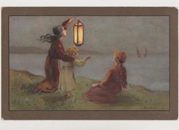 Carte Fantaisie Signée Barham M.M..VIENNE.M.Munk /Jeune Femme Avec Une Lanterne Et Enfants En Bord De Mer - Altre Illustrazioni