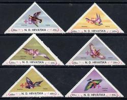 Croatia 1951 Birds Triangular Perf Set Of 6 Surcharged +5k In Red, Unmounted Mint - Kroatien