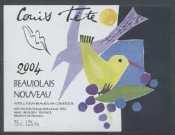 THEME OISEAUX étiquette De Vin BEAUJOLAIS NOUVEAU 2004 HORIZONTAL - Parrots