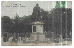 Gaillac Rare CPA Couleur Statue Du Général D' Hautpoul - Gaillac