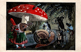 AK - CPA Peinte à La Main Par Feotb Insectes Musiciens Sous Champignon, Crapaud, Fourmis & Escargot - Königreich Bayern - Other Illustrators