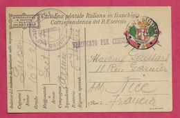 Correspondance Armée D'Italie Pour Nice 1917 - WW I