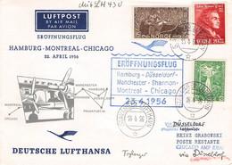 NORWAY - FIRST FLIGHT LH430 HAMBURG > CHICAGO 1956 /G145 - Cartas