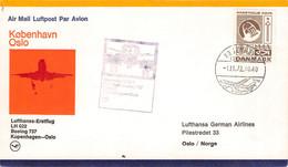 DENMARK - FIRST FLIGHT LH022 KOBENHAVN > OSLO /G153 - Airmail