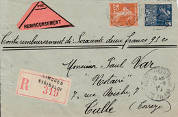 FRANCE LETTRE RECOMMANDÉE AVEC VIGNETTE REMBOURSEMENT LIMOGES HAUTE VIENNE 1932 - Storia Postale