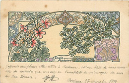 ILLUSTRATEUR A. HERBINIER - ENVOI EN 1904 - SERIE FLEURS - ART NOUVEAU STYLE MUCHA - AUBEPINE - Altre Illustrazioni
